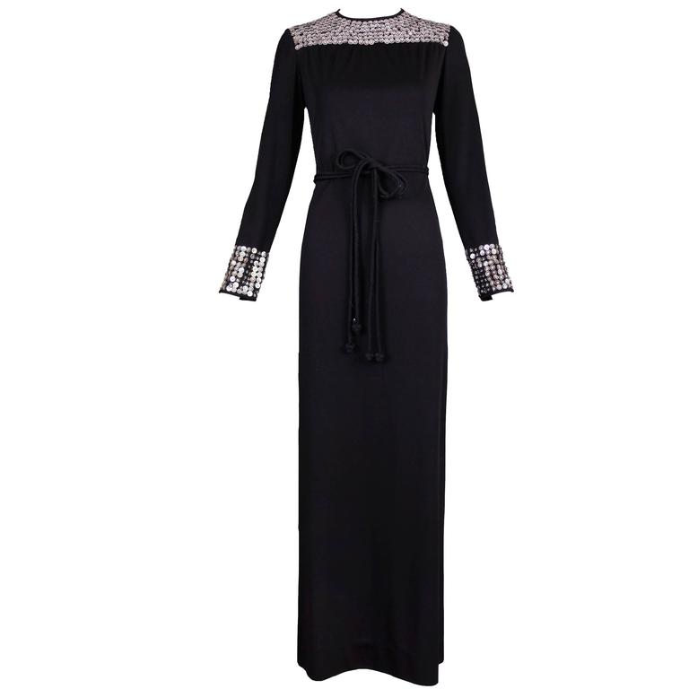 1970's Rizkallah for Malcolm Starr Black Beaded & Sequined Evening Gown Dress