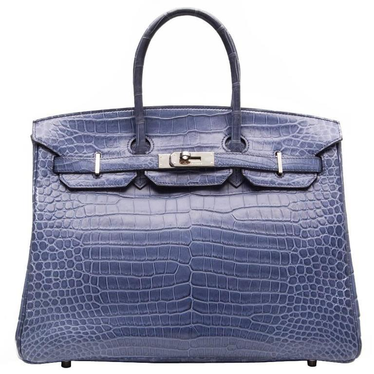1de1f77c643 Hermes Brighton Blue Matte Crocodile 35cm Birkin Bag at 1stdibs