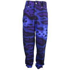 1990s Gianni Versace Men's Leopard Print Jeans