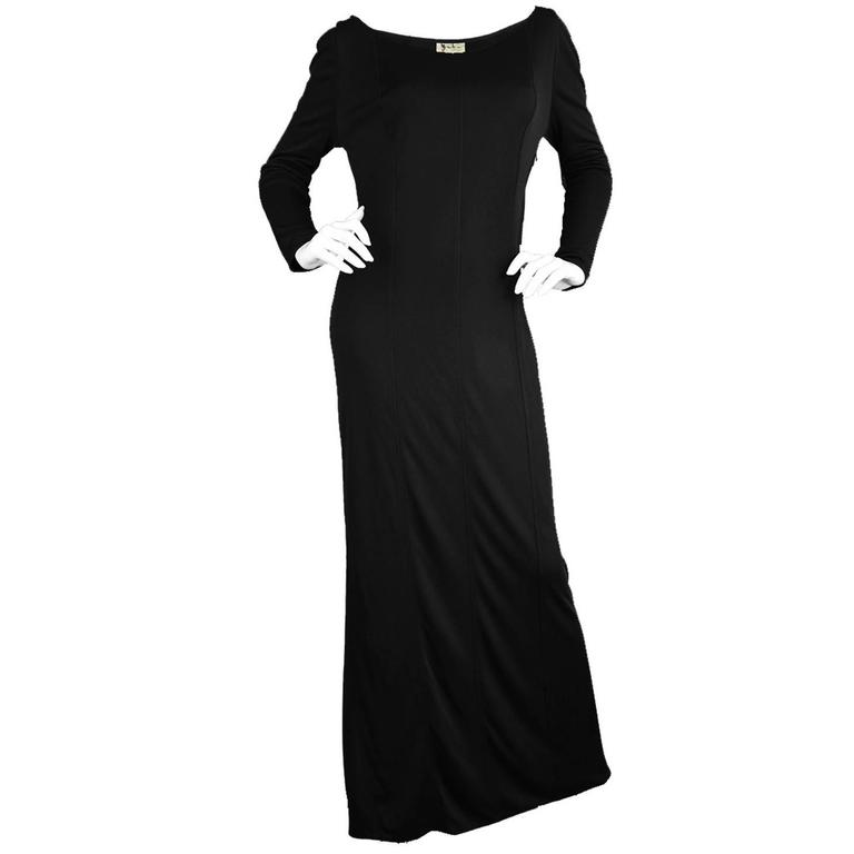 1970s Yuki of London Long Black Rayon Jersey Dress