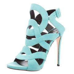 Giuseppe Zanotti NEW Teal Suede Cut Out Open Toe High Heels Sandals in Box