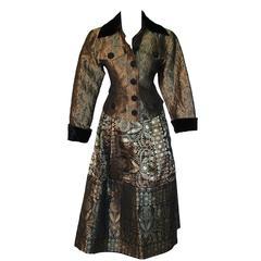 Christian Lacroix Gold Silk Brocade Jacket + Full Skirt Suit Byzantine 1980s S