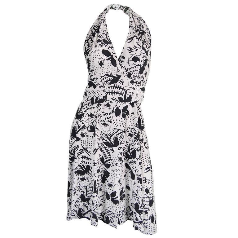 Emmanuelle Khanh Silk Crepe Vintage Halterneck Wrap Dress, 1980s
