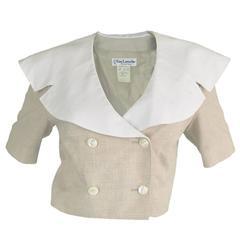 1980's Guy Laroche Cropped Linen Jacket