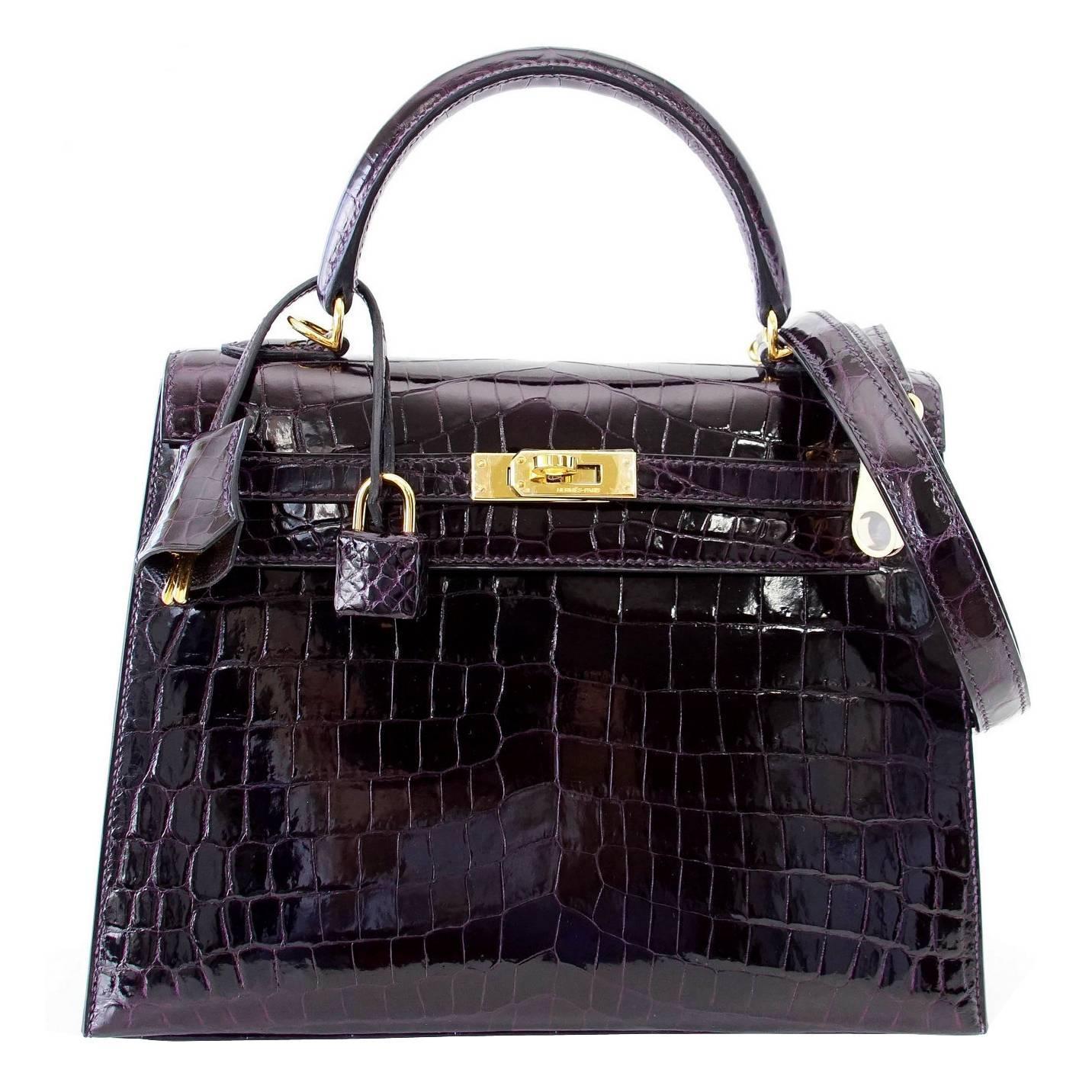 b8c45cabc2f5d ... usa hermes kelly 25 sellier bag crocodile prunoir gold hardware deep  plum purple for sale at ...