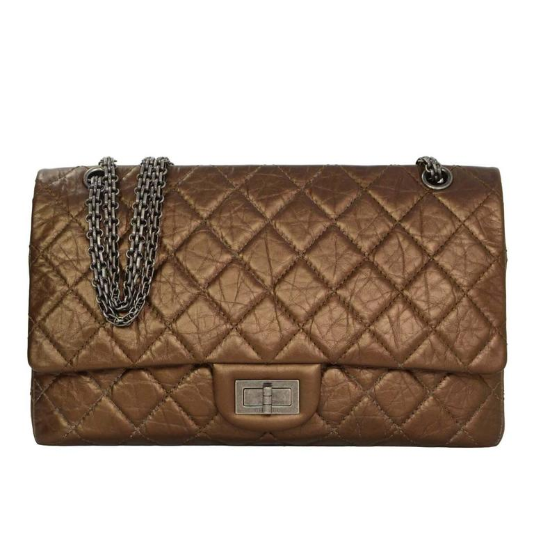 Chanel Bronze Calfskin 2.55 Reissue 227 Double Flap Classic Bag For Sale