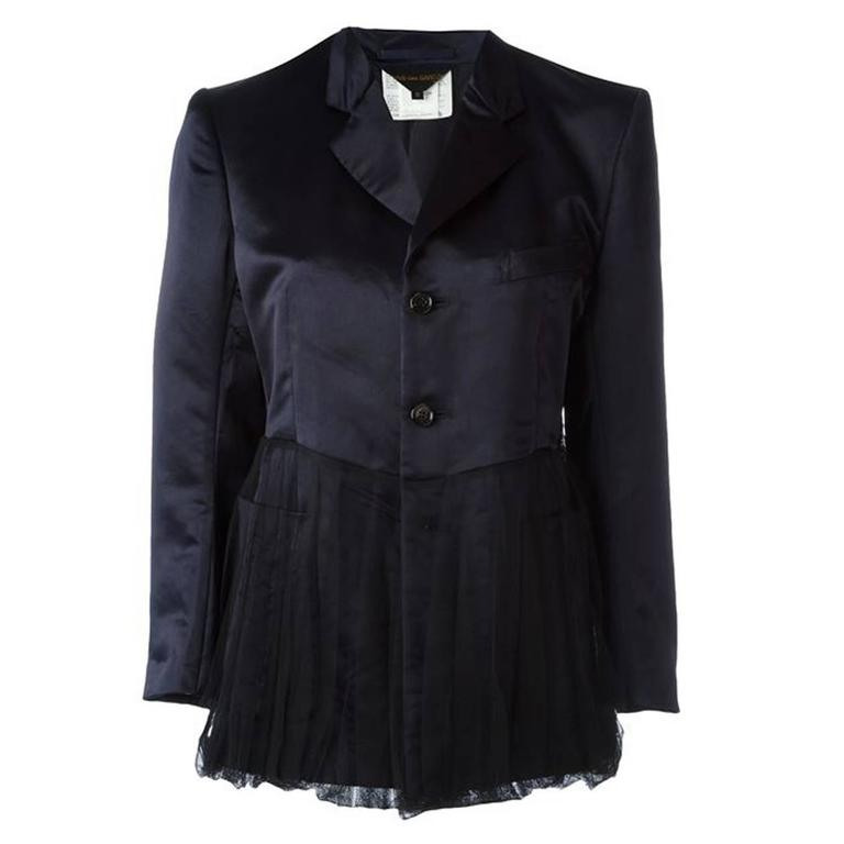 1990s Comme Des Garcons Dark Navy  Peplum Satin Jacket For Sale