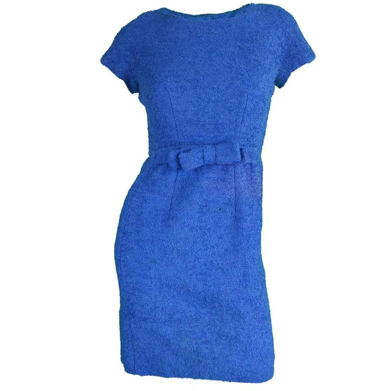 Vintage 1960's Jacques Heim Blue Boucle Wool Wiggle Dress 1