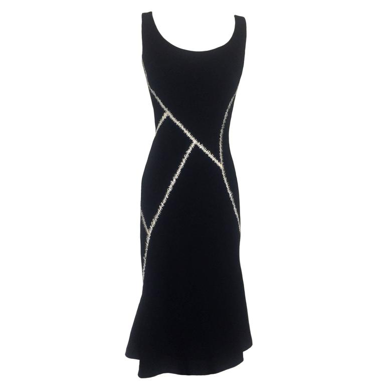 Alexander McQueen Black Pieced Flare Midi Dress with White Stitch Details, 2004