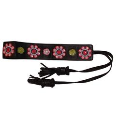 Embroidered Leather belt by Dior with Tassle Ties