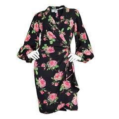 Vintage 1980's Emanuel Ungaro Parallele Silk Rose Print Dress