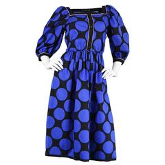 1980s Vintage Louis Feraud Black & Blue Puff Sleeve Dress with Polka Dot Print