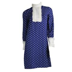 Vintage 1960s Jean Varon Blue & White Polka Dot Mod Shift Dress