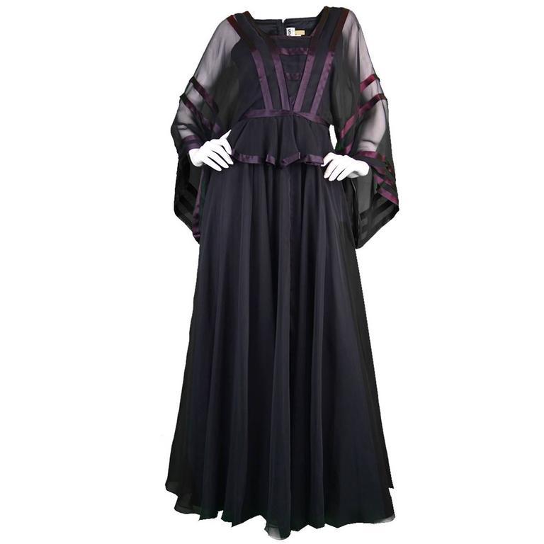 Vintage 1970's Jean Varon Black Chiffon Evening Gown