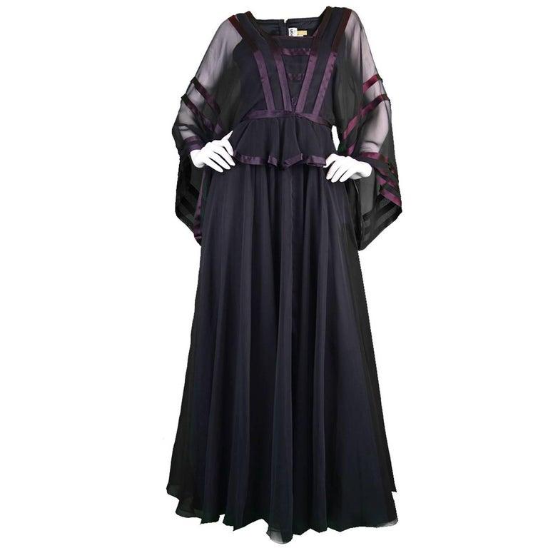 Jean Varon Vintage Black Chiffon Evening Gown, 1970s  For Sale