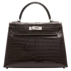 Hermes 28cm Cocaon Porosus Crocodile Kelly Bag