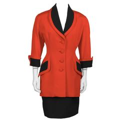 1980's Isabelle Allard Red Skirt Suit