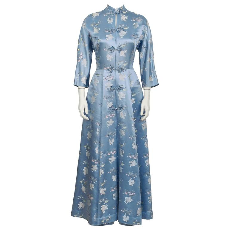 1960's Dynasty Blue Silk Embroidered Robe
