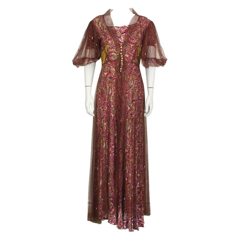 1940's Anonymous Paisley Gown with Maroon Net Overcoat