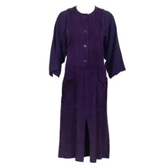 1970's Plum Suede and Rayon Crepe Dress