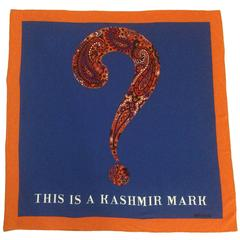 Moschino 90s This is a Kashmir Mark Question Mark Silk Scarf Blue Orange