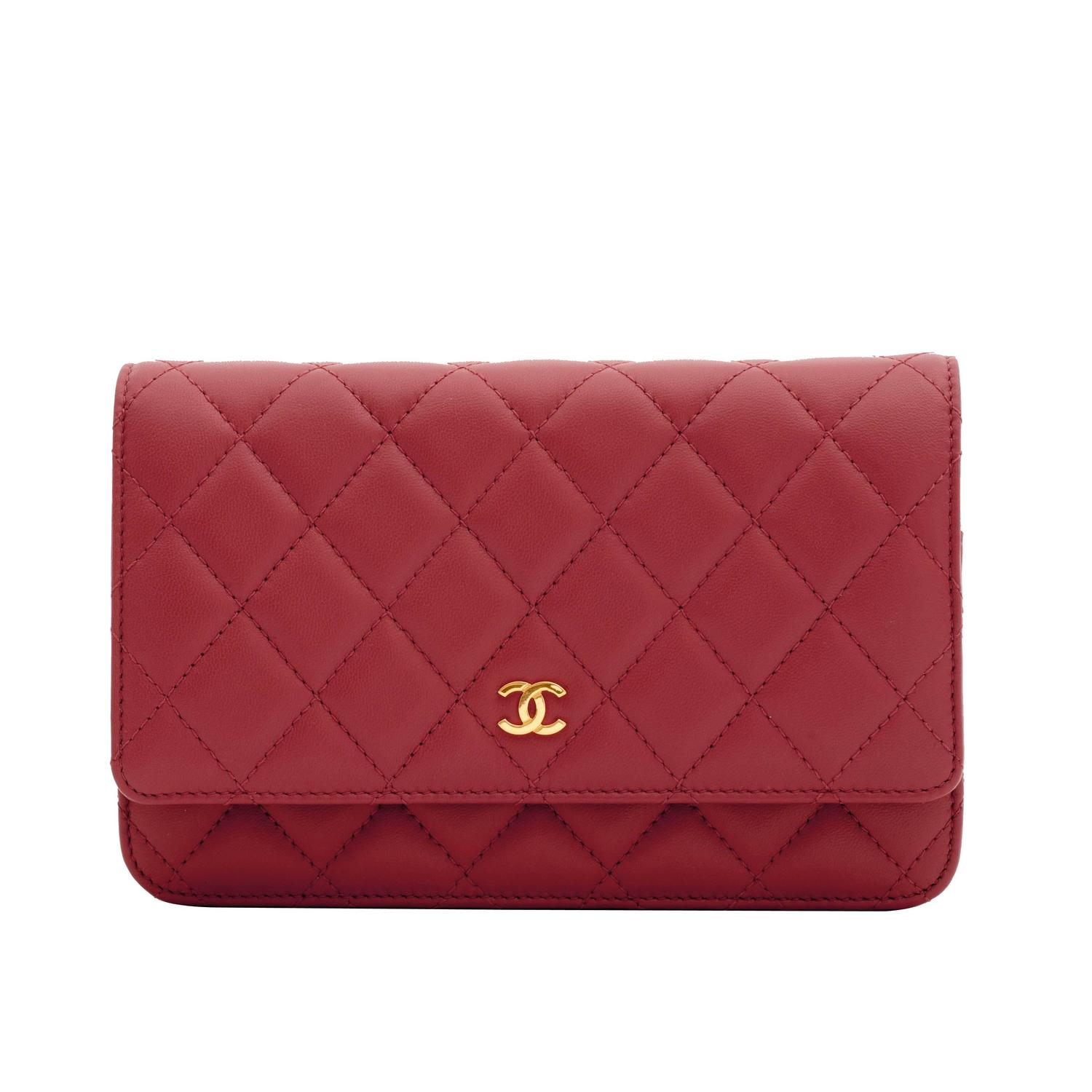 chanel wallet on chain woc quilted lambskin red gold at