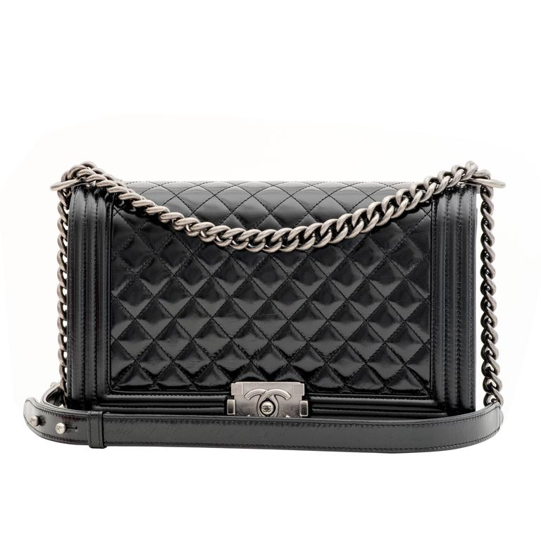 Chanel Glaze Calf New Medium Boy Flap Bag in Black 1