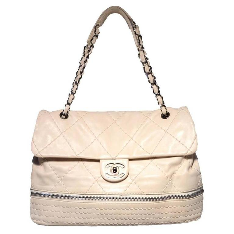 Chanel Quilted Leather Zip Bottom Classic Shoulder Bag