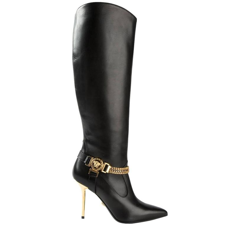 c30770560352 New Versace Black Leather Medusa Knee High Boots at 1stdibs