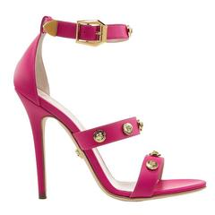 New VERSACE HOT PINK LEATHER SIGNATURE MEDUSA STUDDED SANDALS