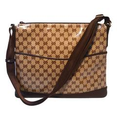 Gucci Coated Monogram Canvas and Leather Trim Shoulder Bag