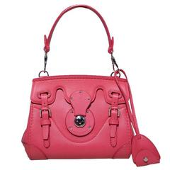 Ralph Lauren Hot Pink Leather Mini Ricky Bag with Strap and Cards
