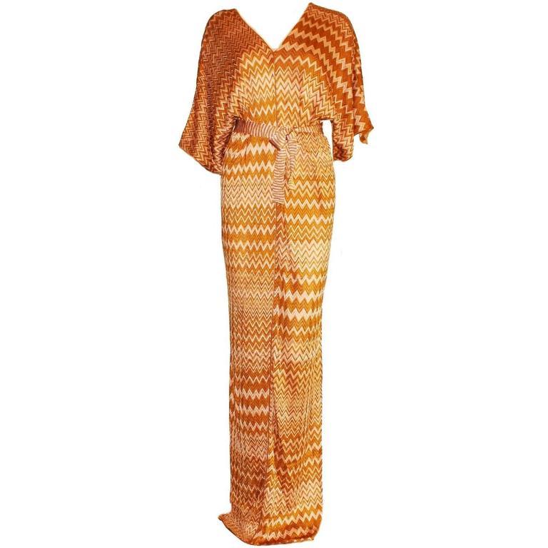 Stunning Missoni Chevron Zigzag Crochet Knit Maxi Kaftan Dress Gown
