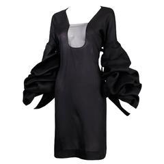 2002 Tom Ford for Yves Saint Laurent Black Silk Cocktail Dress w/Balloon Sleeves