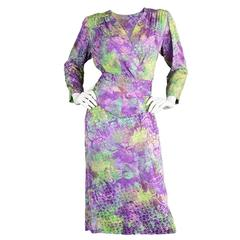 Vintage 1980s Yves Saint Laurent Haute Couture Oriental Watercolour Dress