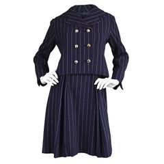 Vintage 1960's Bill Blass for Maurice Rentner Navy Pinstripe Dress Suit