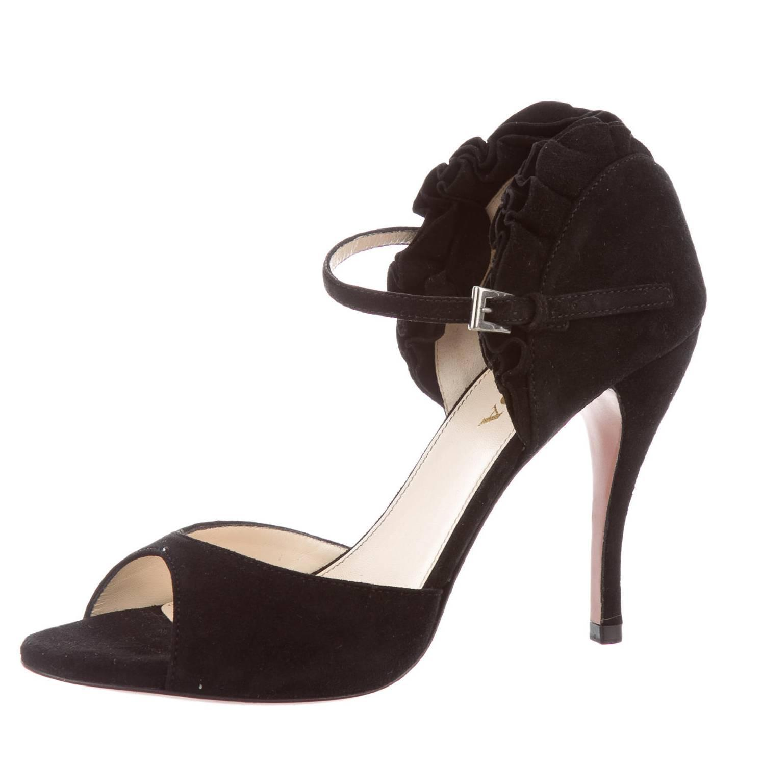 prada new suede ruffle open toe high heels strappy sandals in box at 1stdibs. Black Bedroom Furniture Sets. Home Design Ideas