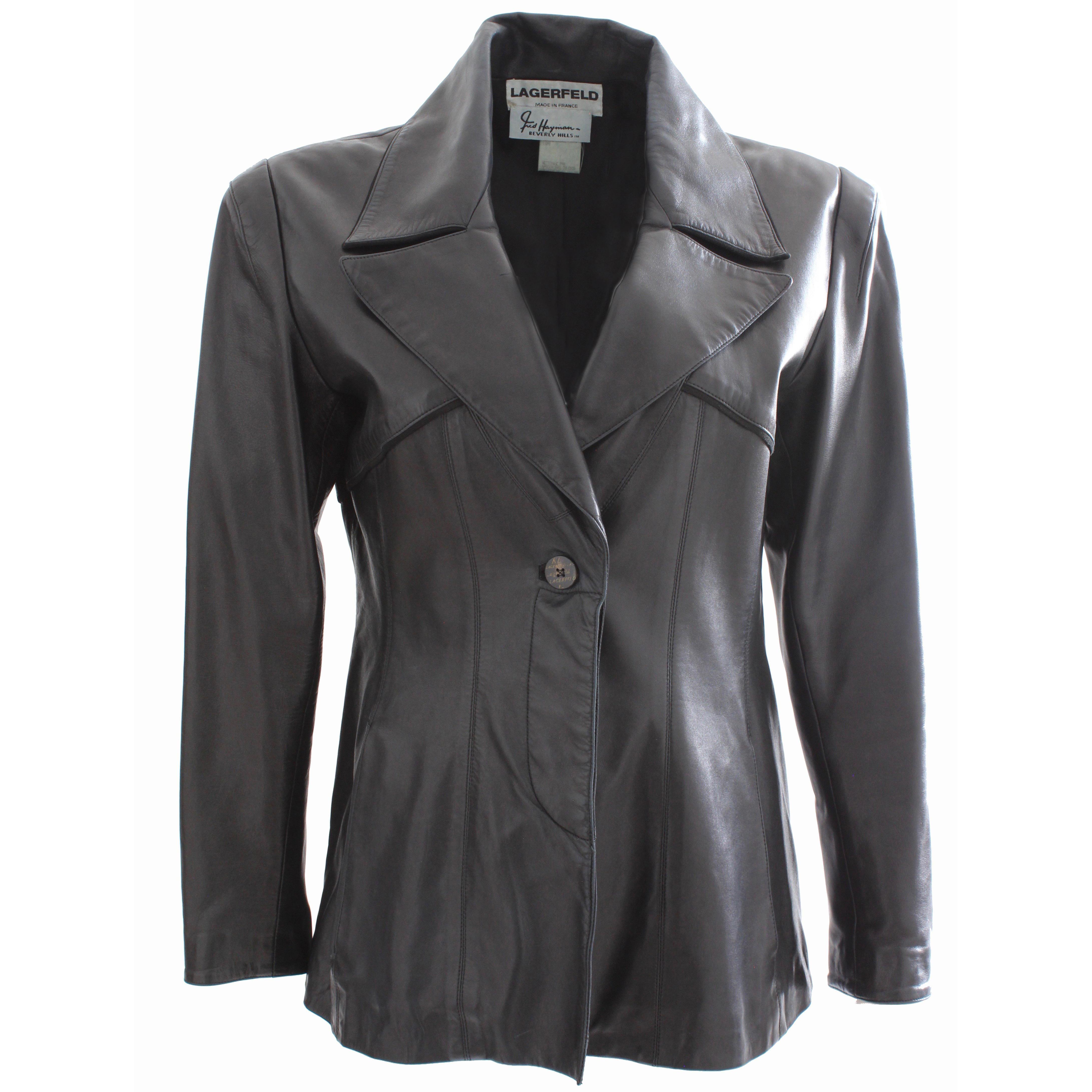Karl Lagerfeld Black Leather Jacket Fred Hayman Beverly Hills Sz M