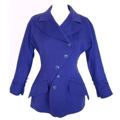 Unique Karl Lagerfeld Violet Jacket Asymmetric Buttons Fred Hayman Size 42