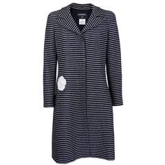 Chanel Lightweight Striped Overcoat with signature Camellia