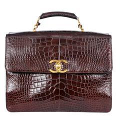 Chanel Brown Crocodile Case