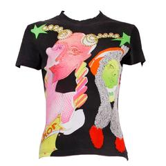 John Galliano for Christian Dior Graphic T-Shirt Featuring Neon Faces