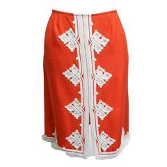 Oscar de la Renta Linen Embroidered Skirt