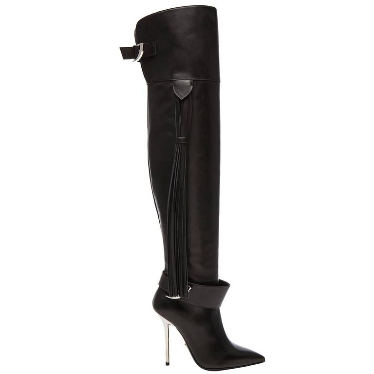 Versace Black Leather Thigh High Boots with Tassel  1