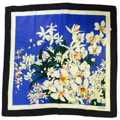 Valentino Royal Blue Silk Exotic Floral Print Scarf With Black Border