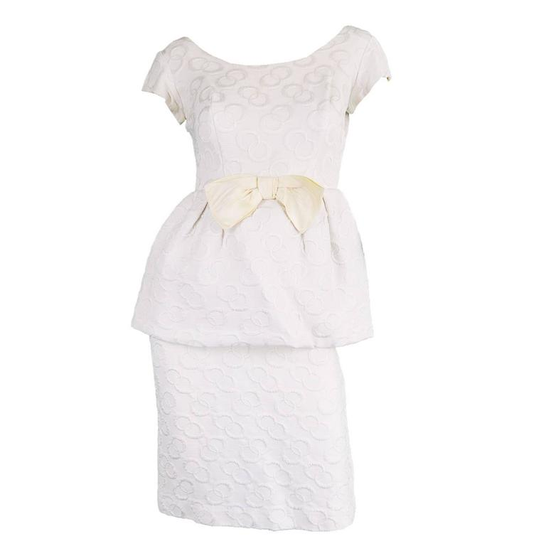 Vintage 1950s Structural White Peplum Cocktail Party Dress With