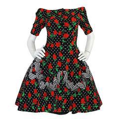 1980s Off Shoulder Christian Lacroix Couture Floral Dress