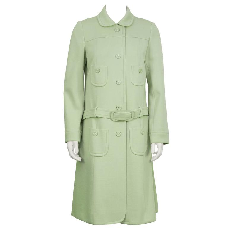 1960's Holt Renfrew MInt Green Space Age Coat/Dress