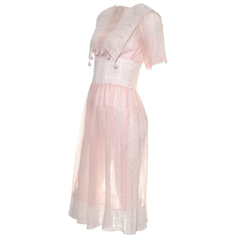 1930s Vintage Dress Cotton Voile Crochet Lace Pink Tone on Tone Stripes