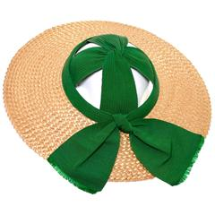 1940s Meadowbrook Vintage Open Crown Straw Hat With Wide Brim & Green Ribbon